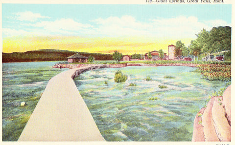 Linen postcard front.Giant Springs - Great Falls,Montana