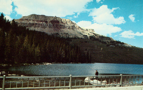 Vintage postcard front.Beartooth Lake and Butte - Montana