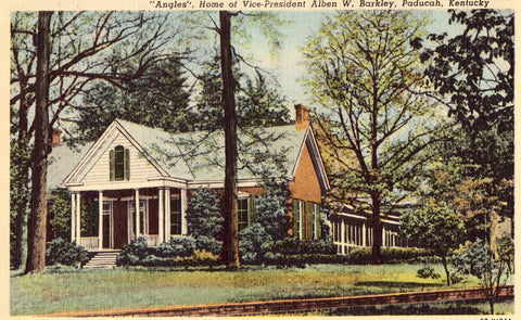 "Linen postcard front.""Angles"", Home of VP Alben W. Barkley - Paducah,Kentucky"