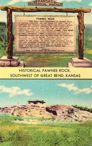 Historical Pawnee Rock,Southwest of Great Bend,Kansas.Front of linen postcard