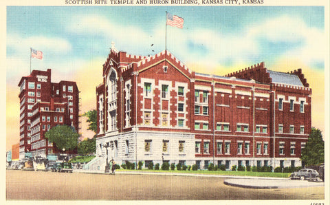 Scottish Rite Temple and Huron Building - Kansas City,Kansas.Linen postcard front