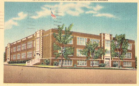 Linen postcard front.Leavenworth Senior High School - Leavenworth,Kansas