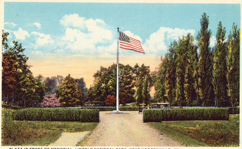 Postcard front.Plaza in Front of Memorial,Lincoln National Park near Hodgenville,Kentucky