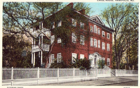 Vintage postcard front.Chase House - Annapolis,Maryland