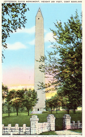 Linen postcard front.Jefferson Davis Monument  near Hopkinsville,Kentucky