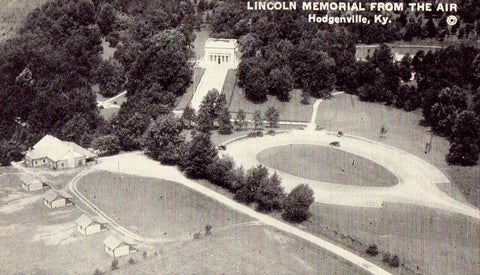 Vintage postcard front Lincoln Memorial from The Air - Hodgenville,Kentucky