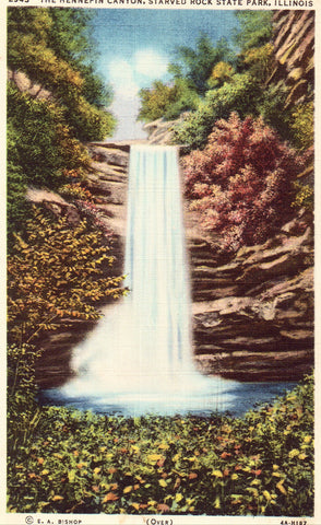 Linen postcard front.The Hennepin Canyon - Starved Rock State Park - Illinois