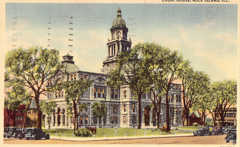 Court House - Rock Island,Illinois Linen Postcard Front