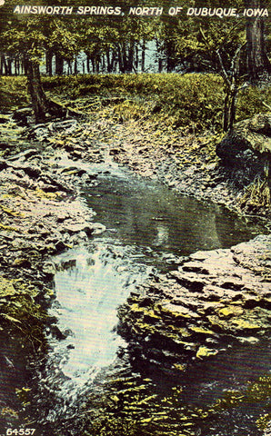 Vintage postcard front. Ainsworth Springs,North of Dubuque - Iowa