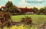 Vintage postcard front. Abe Martin Lodge,Brown County State Park - Nashville,Brown County,Indiana