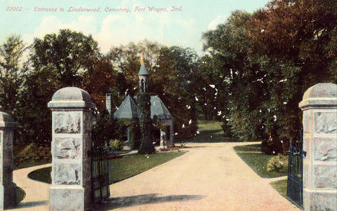 Vintage postcard front.Entrance to Lindenwood Cemetery - Fort Wayne,Indiana