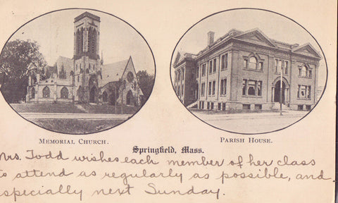 Memorial Church and Parish House-Springfield,Massachusetts 1906 - Cakcollectibles - 1