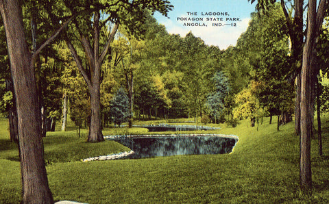 Linen postcard front.The Lagoons,Pokagon State Park - Angola,Indiana