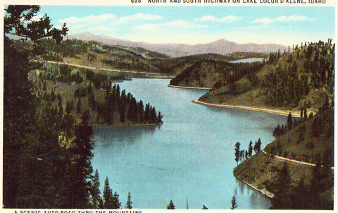 Linen postcard front., North and South Highway on Lake Coeur D'Alene,Idaho