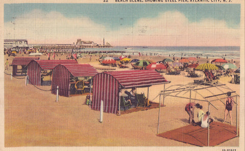 Beach Scene showing Steel Pier-Atlantic City,New Jersey 1937 - Cakcollectibles - 1