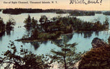 Vintage postcard front. Out of Sight Channel - Thousand Islands,New York