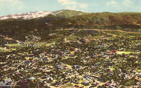 Air View of Santa Fe,New Mexico Linen Postcard Front