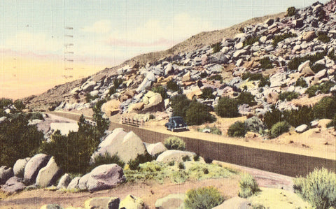 Linen postcard front. Scene in Tijeras Canyon -Highway 66 - New Mexico