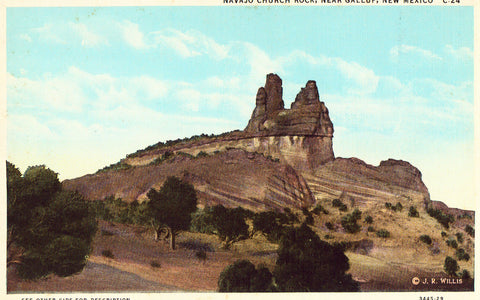Vintage postcard front. Navajo Church Rock near Gallup,New Mexico