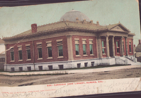 Carnegie Free Library-Eureka,California 1907 - Cakcollectibles - 1