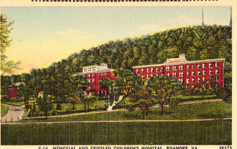 Linen postcard front. Memorial and Crippled Children's Hospital - Roanoke,Virginia