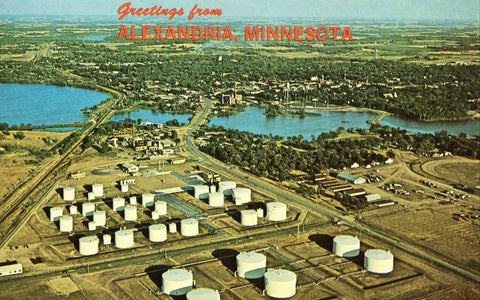 Vintage postcard front. Aerial View of Alexandria,Minnesota