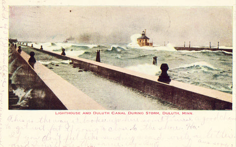 Lighthouse and Duluth Canal During Storm - Duluth,Minnesota. Vintage postcard front