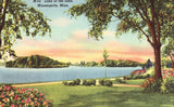 Linen postcard front. Lake of The Isles - Minneapolis,Minnesota