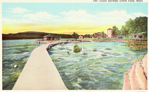 Linen postcard front. Giant Springs - Great Falls,Montana