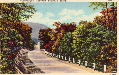 Linen Postcard Front- Picturesque Montana Highway Scene