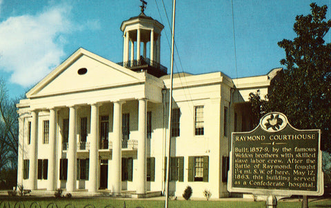 Vintage postcard front. Raymond Courthouse - Raymond,Mississippi