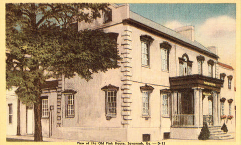 Linen postcard front. View of The Old Pink House - Savannah,Georgia