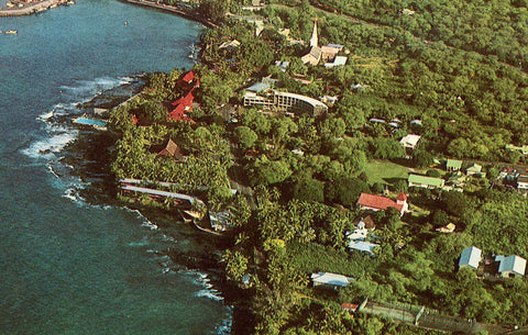Vintage postcard front. Aerial View of Kailua-Kona,Hawaii