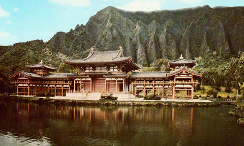 Vintage postcard front. Byodo-In Temple - Windward Oahu,Hawaii