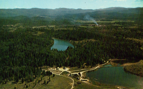 Vintage postcard front. Aerial View of Crystal Lake Area near Eureka,Montana