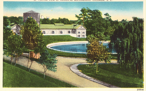 Linen postcard front. Partial View of Municipal Waterworks - Columbia,South Carolina