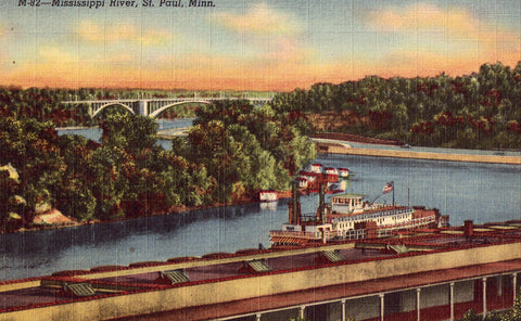 Linen Postcard Front - The Mississippi River - St. Paul,Minnesota