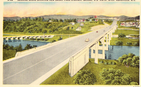 Linen postcard front. Smoky Park Highway Bridge - Asheville,North Carolina