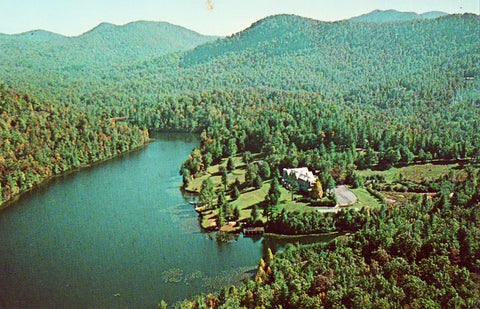 Aerial View of Saphire Valley Inn and Golf Club - Saphire,N.C. Vintage Postcard Front