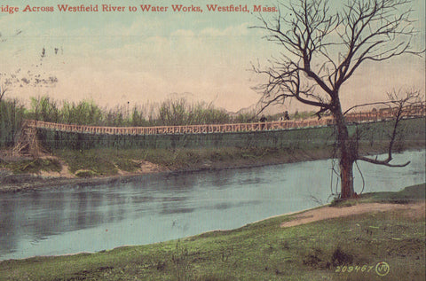 Bridge Across Westfield River to Water Works-Westfield,Massachusetts - Cakcollectibles - 1