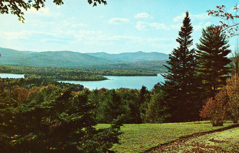 Vintage postcard front. Newfound Lake and Mt. Cardigan from Bridgewater Hill - N.H.