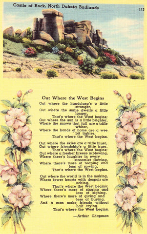 Linen Poem Postcard Front - Castle of Rock - North Dakota Badlands