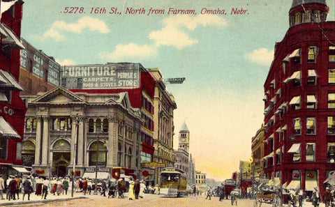Old postcard front. 16th Street,North from Farnam - Omaha,Nebraska