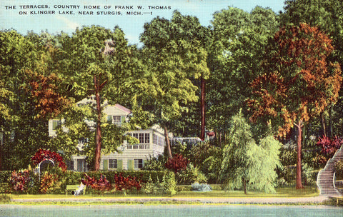 Linen postcard front. The Terraces,Country Home of Frank W. Thomas near Sturgis,Michigan