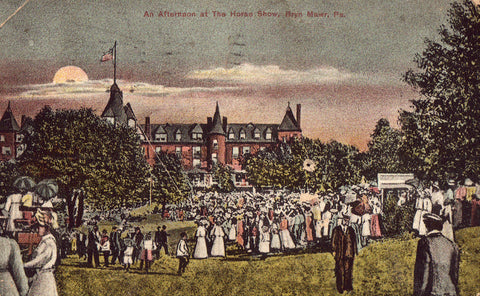 An Afternoon at The Horse Show - Bryn Mawr,Pennsylvania. Vintage postcard front