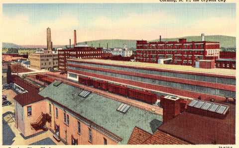 Linen postcard front. Corning Glass Works - Corning,New York