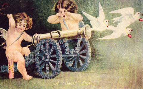 "Vintage postcard front. A ""Heart"" Shot - Cupids with Cannon and Doves"