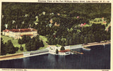 Linen postcard front. Airplane View of The Fort William Henry Hotel - Lake George,New York