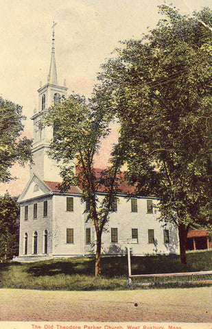 Vintage postcard front. The Old Theodore Parker Church - West Roxbury,Massachusetts
