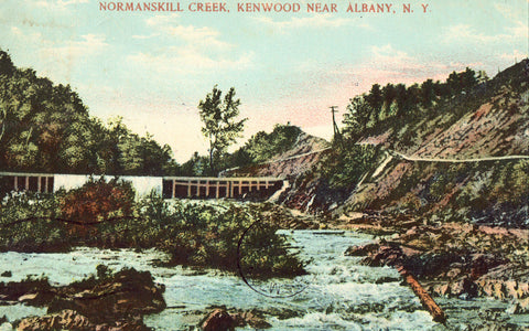 Vintage postcard front. Normanskill Creek - Kenwood near Albany,New York